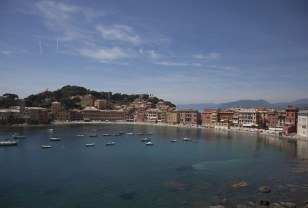 isthmus: view over sestri-levante, italy
