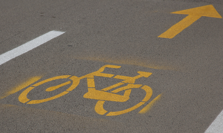symbol sport: sign of a bicycle on the road Lizenzfreie Bilder