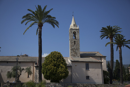 church with palm trees