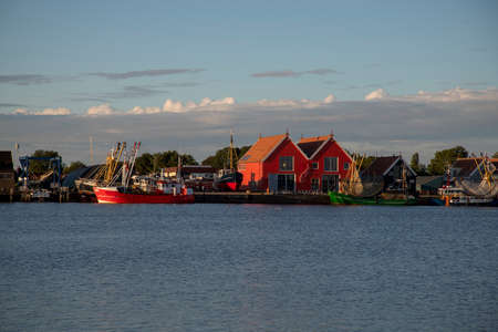 colorful houses in the harbor of Zoutkamp