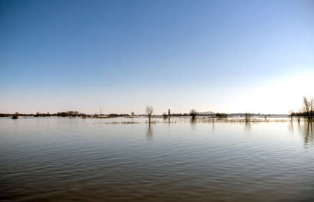 High water in the floodplains of a river in the Netherlands Reklamní fotografie