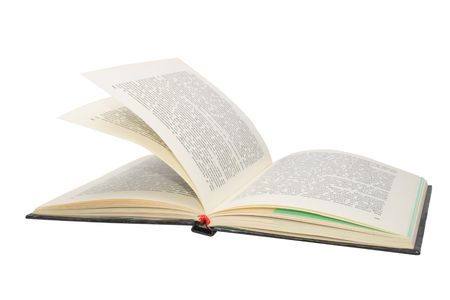 A photo of open book hardcover with text and pictures isolated on white background