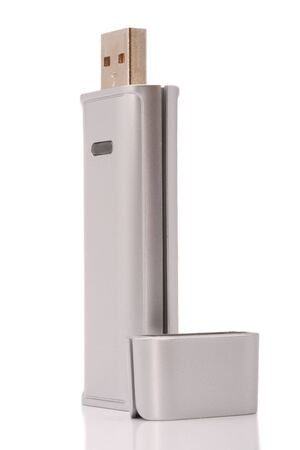 micro drive: USB standing vertical with cap near it Stock Photo
