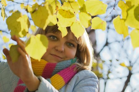 Photo of beauty girl near tree with yellow leaves photo