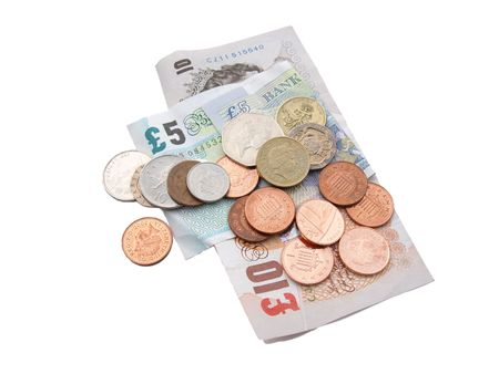monies: British coins and notes