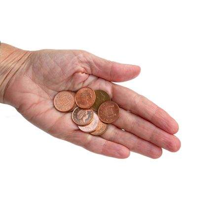 monies: Pennies in the palm of a hand Stock Photo