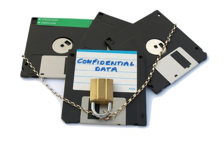 labelled: Floppy disks, labelled confidential data, with chain and padlock.