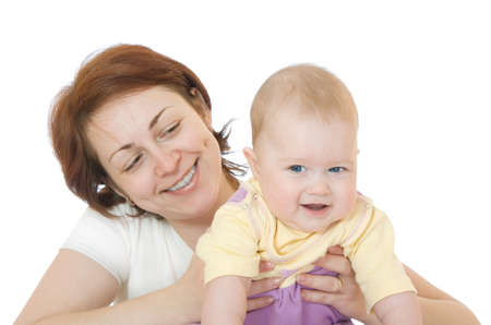 Small smiling baby with mother on white Stock Photo - 2883905