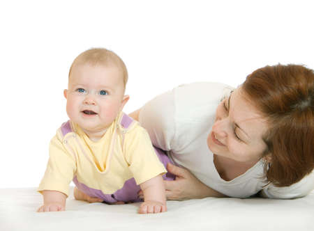 Small baby with mother isolated on white Stock Photo - 2918269