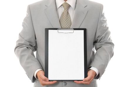 Businessman, holding paper sheet with empty space isolated Stock Photo - 3119176