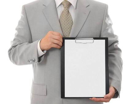 Businessman, holding paper sheet with empty space isolated Stock Photo - 3134078