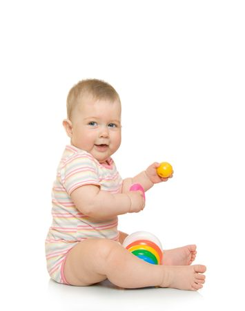 Small baby with toy pyramid #5 isolated on white Stock Photo