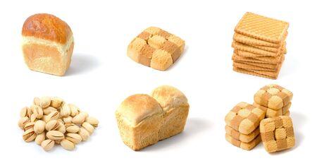 Set of bakery isolated on white background photo