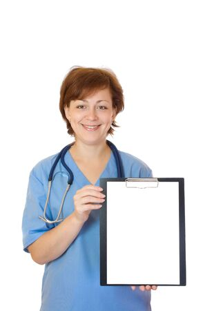 Doctor holding blank paper sheet isolated on white photo