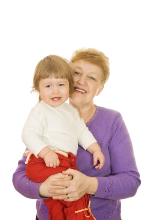 Smiling baby with her grandma isolated on white photo