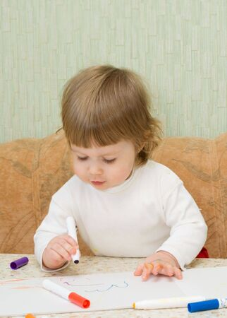 careless: Small cute painting girl at home