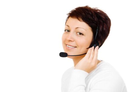 Young customer service worker isolated photo