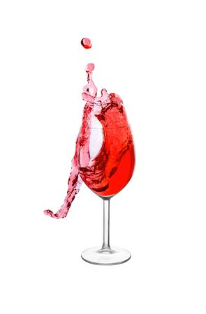 wine  pink: Splash in a red wine glass isolated Stock Photo