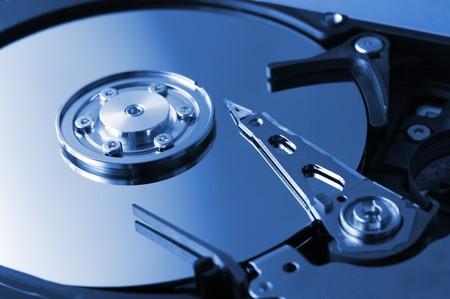 Computer hard drive in blue tone photo