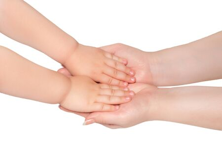Woman hold hands of little child isolated