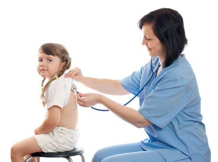 doctor listens by stethoscope little girl Stock Photo - 9759301