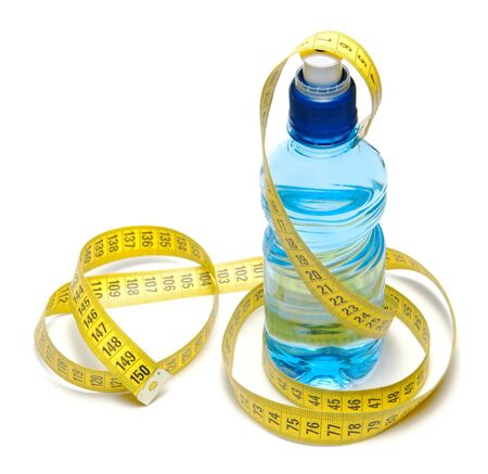 Blue bottle of water with centimeter tape isolated photo