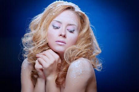 Young beautiful woman with snowy skin (cold colors) Stock Photo - 11269823