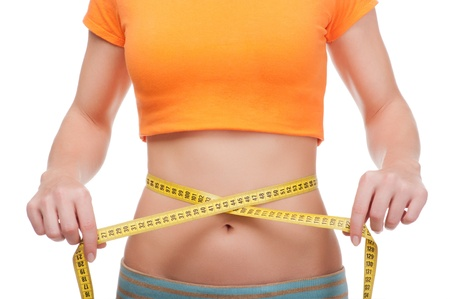 measure waist: Young woman with centimeter tape isolated