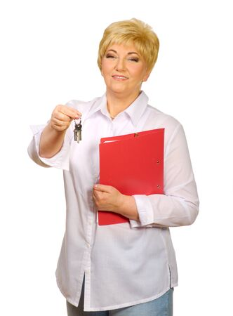 Senior woman with folder and keys isolated photo