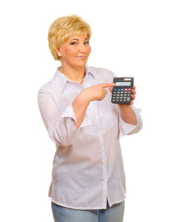 Senior woman with calculator isolated photo