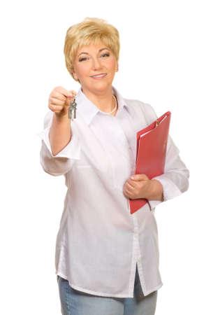 Senior woman with folder and keys isolated photo