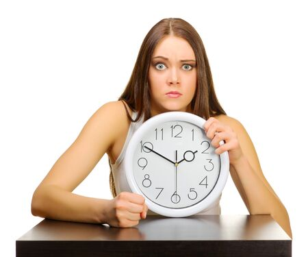 Young girl with clock isolated photo