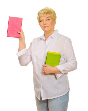 Senior woman with books isolated Stock Photo - 13288358