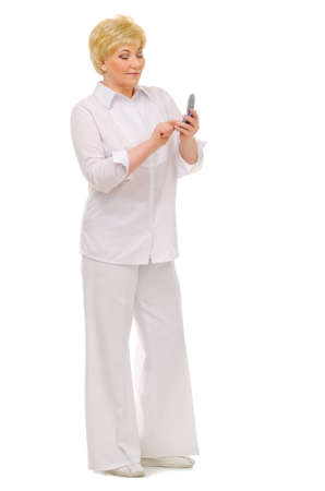Senior woman with mobile phone isolated photo