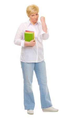 Senior woman with books isolated photo