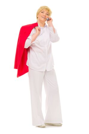 Senior woman with mobile phone isolated Stock Photo - 13698917
