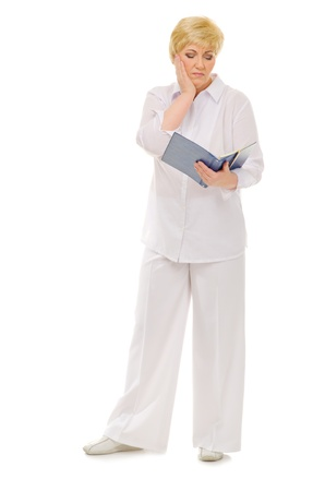 Senior woman with notebook isolated photo