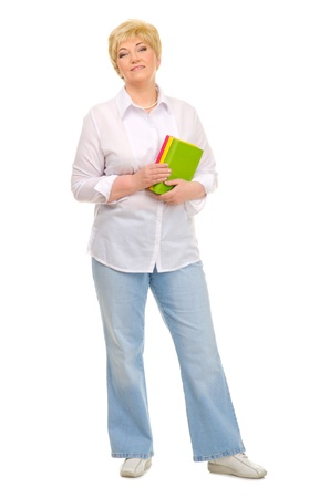 Senior woman with books isolated Stock Photo - 14360566