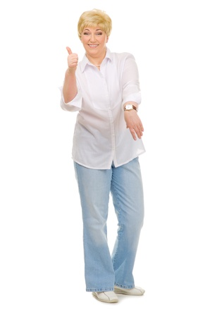 Senior woman with watches isolated photo