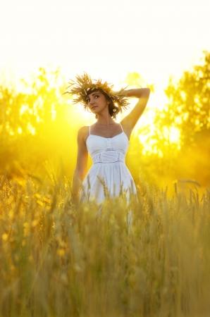 rayos de sol: Mujer joven en el campo de trigo