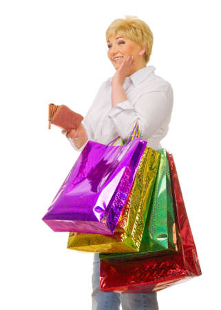 Senior woman with bags and wallet isolated photo