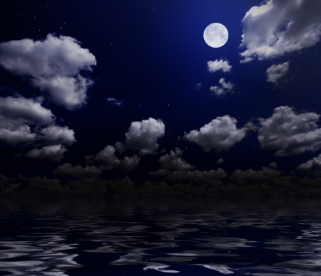 Night cloudy sky with moon photo
