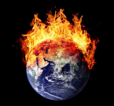 Brandende aarde wereldbol oosten halfrond Stockfoto