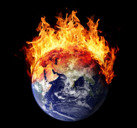 global warming: Burning earth globe east hemisphere Stock Photo
