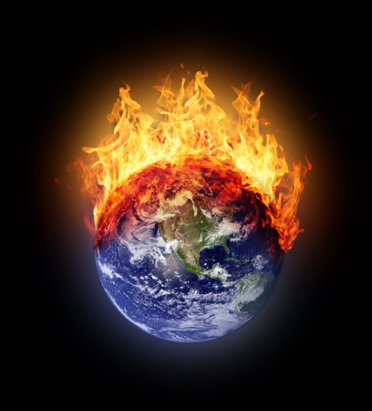 the natural world: Burning earth globe west hemisphere Stock Photo
