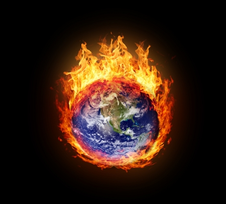 global warming: Burning globe earth (west hemisphere) - version with glowing (elements furnished by NASA)