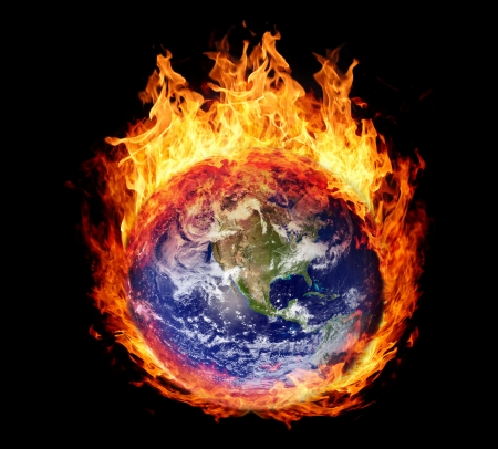 fire damage: Burning globe earth (west hemisphere) - version without glowing (elements furnished by NASA) Stock Photo