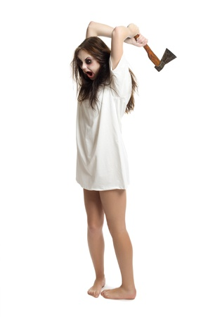 woman screaming: Zombie girl with axe isolated