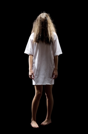 ghost woman: Young zombie girl isolated on black Stock Photo