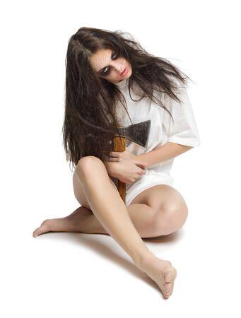 axe girl: Zombie girl with axe isolated
